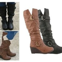 Ladies Womens New Wedge Heel Knee High Winter Calf Zip Up Boots Shoes Size