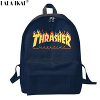 LALA IKAI Unisex Backpack American Skateboard Oxford Backpack Thrasher Shoulders Bag Fashion Style Men Backpack BME0119-4.9