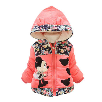 2016 New Autumn Winter Coat for Girls Cartoon Outerwear Cotton Thick Winter Hooded Warm Coats Girls Winter Clothing Down 3 Color
