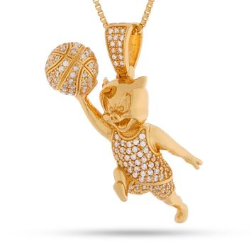 Space Jam x KING ICE - .925 Sterling Silver Porky Pig Necklace