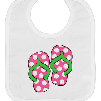 Cute Polka Dot Flip Flops - Pink and Green Baby Bib