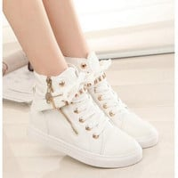 size 35~40    sneakers high quality canvas zipper rivet high top Sneakers shoes woman FG326