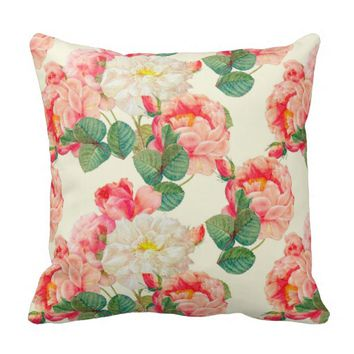 Modern Pink Rose Peony Flower Pattern Throw Pillow