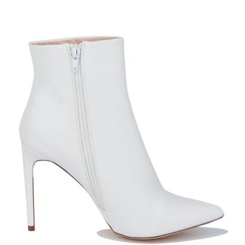 High Stiletto Heel Zip Up Pointed Toe Booties in White