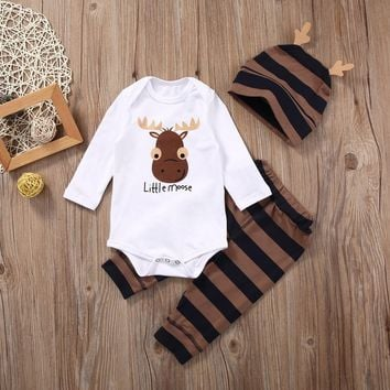 3pcs suit !! Newborn Baby Boys Girls Tops Romper+ Pants+ Hat Outfits Set Christmas Clothes AU