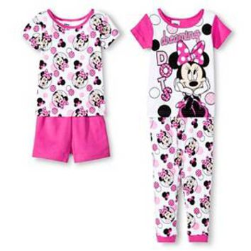 Toddler Girls' Minnie Mouse Disney® Snug Fit Cotton 4-Piece Pajama Set