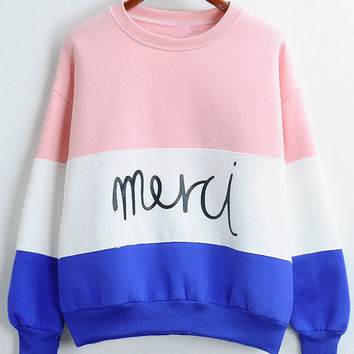 "Color Block ""merci"" Printed Sweatshirt"
