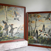 Paint By Number Ducks In Flight | Two 16 x 20 Vintage PBN Oil Paintings Framed | Mallard and Pintail Ducks in Flight | Autumn Cabin Decor