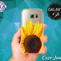 Sunflower Close Up Yellow Flower Summer Colors Cute Tumblr Case for Clear Rubber Samsung Galaxy S6 and Samsung Galaxy S6 Edge Clear Cover