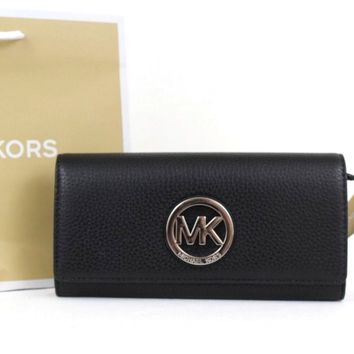 Michael Kors Fulton Flap Continental Wallet Clutch Black Silver Leather New NWT