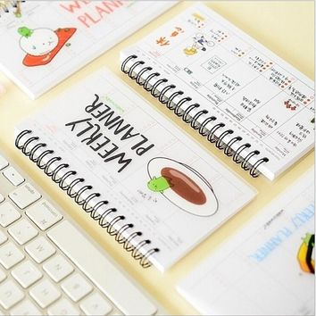 spiral notebook animal planner Cartoon notebook Kawaii day weekly planner diary sketchbook agenda 2017 anime planners