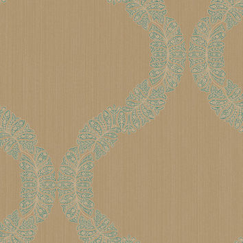 Sample of Ogee Wallpaper in Metallic, Neutrals, and Blues design by Seabrook Wallcoverings