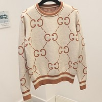 GUCCI new autumn and winter base Joker sweater round neck double g letter sweater Beige + Apricot