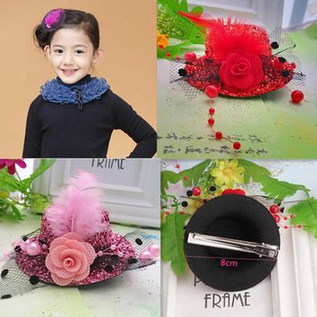 New Children Hair Accessories Small Cap Shaped Ribbon Flowers Hairpins Festival Party Headwear Girls Hair Accessories Hair Clip