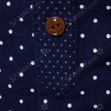 Button Down Corduroy Panel Polka Dot Shirt - Purplish Blue - L