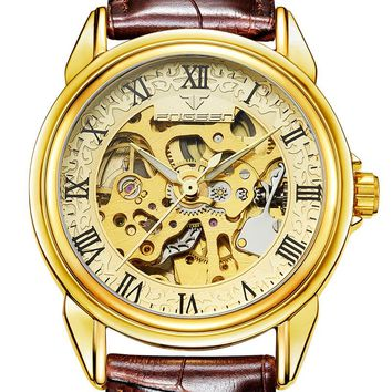High Quality Mechanical Watches Mens Luxury Brand Roman Number Skeleton Leather Watch Automatic Wristwatch Tourbillon Hodinky