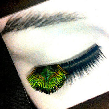 Peacock Green Feather False Eyelashes similar to lashes in Hunger Games