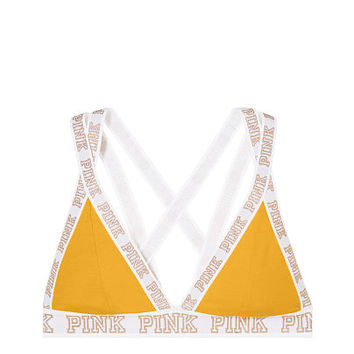 Online Exclusive Cotton Logo Plunge Bralette - PINK - Victoria's Secret