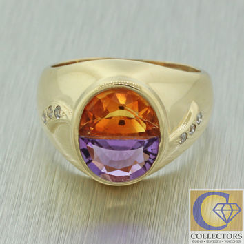 Vintage Estate 14k Solid Yellow Gold Amethyst Citrine Diamond Cocktail Ring