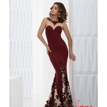Preorder - Jasz Couture 5613 Wine Red Sexy Fitted Halter Long Gown 2016 Prom Dresses