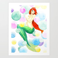 mermaid with colorful bubbles Art Print by Color and Color