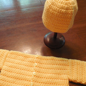 Handcrafted Crochet Baby Sweater and Hat Set - Yellow