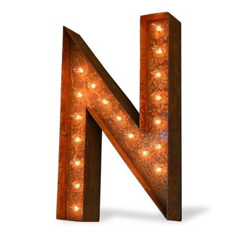 "12"" Letter N Lighted Vintage Marquee Letters (Modern Font/Rustic)"