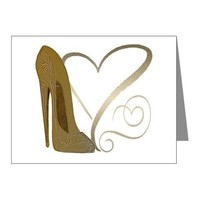 Vintage Stiletto Shoe Hearts Note Cards (Pk of 20) on CafePress.com