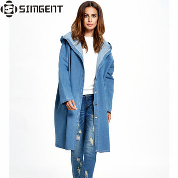 Oversized Denim Jacket Long Hooded Loose Full Sleeve Winter Jeans Jacket Womens Denim Jackets And Coats Veste En Jean Oversize