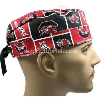 Men's Fold-Up Cuffed or Un-Cuffed Surgical Scrub Hat Cap in South Carolina Gamecocks Squares