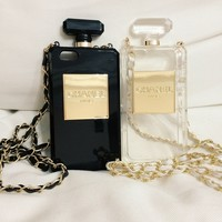 iPhone 6 Plus Chanel Case With Chain Perfume Bottle Design - 2 Colors