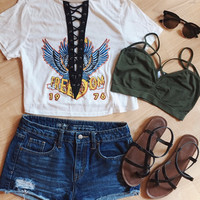 Freedom Lace Up Crop Top