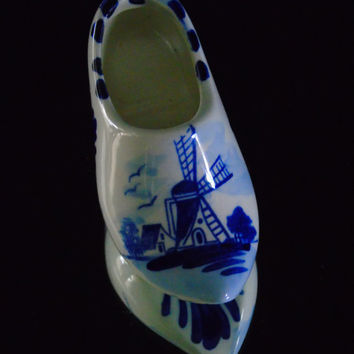 Elesva Delftware Delft Blue Clog Delfts Blauw Holland Windmill Dutch Shoe