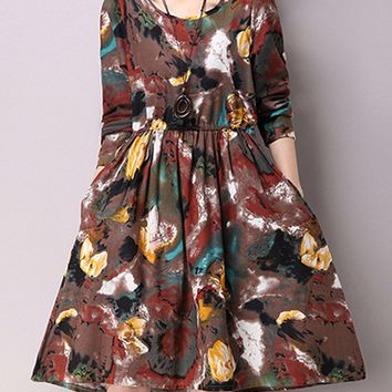 Streetstyle  Casual Butterfly Floral Cotton Skater Dress