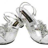 Little Girl Silver Princess Dress-Up Slippers