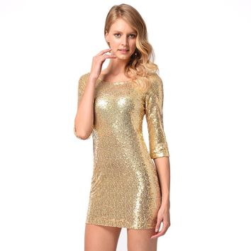 Shinning Sequins Half Sleeves Low Back Short Party Bridesmaid Dress