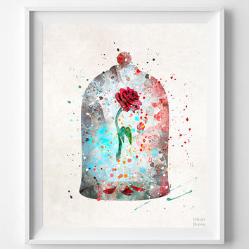 Curse Rose Print, Beauty And The Beast, Enchanted Rose, Watercolor Art, Disney Poster, Baby Wall Decor, Home Decor, Back To School