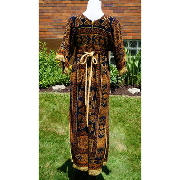 Vintage and Handmade! Festival Dress, Hippie, Boho, Burning Man Outfit, Caftan, Kaftan Style, Empire waist, Fringe, Side Slit, 60s