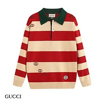 GUCCI Fashion New Embroidery Letter Stripe Women Men Long Sleeve Top Sweater
