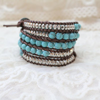 Turquoise Wrap Bracelet; Leather Wrap, Tan Wrap Bracelet, 5 wrap Leather Bracelet, Beaded Wrap Bracelet, Wrap leather bracelet