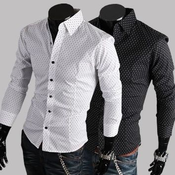 Summer Men Long Sleeve Cotton Casual Slim Shirt [6541442499]