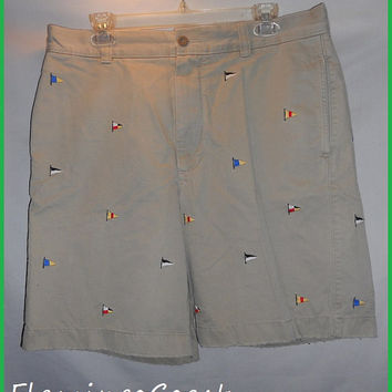 Vintage J. Crew All Over Print Embroidered Sail Boat Shorts Size 34 Khaki Mens