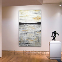 "Large modern abstract painting original 60"" XXL landscape 5ft gray sienna abstract 36 x 60 fine art acrylic painting by L.Beiboer"
