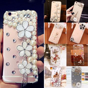 Glitter Crystal Rhinestone Case Cover For iPhone 7 Plus,TPU+PC Acrylic Unique Cute Diamond Protective Shiny mobile phone shell