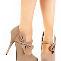 Sand Smooth Velvet Mary Jane Bow Platform Heels Pump