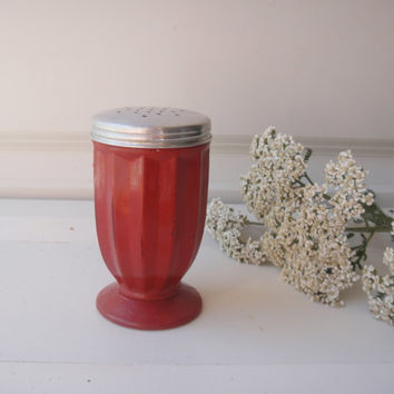 Glass Salt Pepper Shaker - Red - Up cycled Chalk Paint Shabby Chic - Wedding Distressed Beach Decor Pizza Party