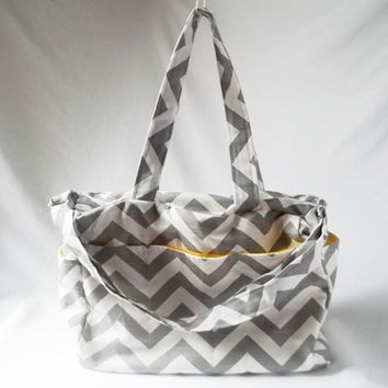 Chevron diaper bag with zippered closure - Grey zig zag medium weekender - Made to Order