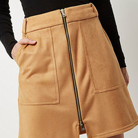 Beige faux suede zip-up a-line skirt - mini skirts - skirts - women