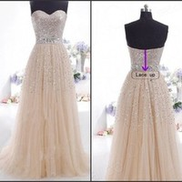 Sexy Prom Dresses 2015 new arrival Long sweetheart a-line champagne Formal Dress Gown long elegant Vestidos Free Shipping