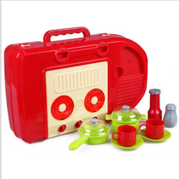 Kid's Kitchen Utensils Set Play House, Changable Combination Kitchen Ware,imitate cooking,Perfect Gift   red